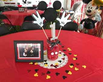 """120 Mickey Mouse Die Cuts, 1.5"""" - Red, Black, Yellow, White - confetti, for birthday parties."""