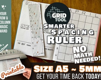 The Grid Tool <:> A5 5mm Smarter Spacing Ruler . stencil bookmark measure & draw rows, columns in dot bujo bullet journal notebook planner