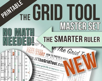 The Grid Tool <:> MASTER SET Smarter Spacing Rulers . stencil bookmark measure & draw rows, columns dot bujo bullet journal notebook planner
