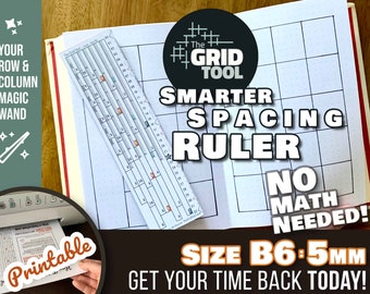 The Grid Tool <:> B6 5mm Smarter Spacing Ruler . stencil bookmark measure & draw rows, columns in dot bujo bullet journal notebook planner