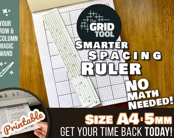 The Grid Tool <:> A4 & US Letter 5mm Smarter Spacing Ruler . stencil bookmark draw rows, columns in dot bujo bullet journal notebook planner