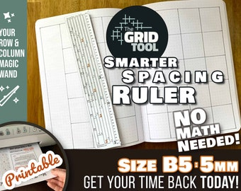 The Grid Tool <:> B5 5mm Smarter Spacing Ruler . stencil bookmark measure & draw rows, columns in dot bujo bullet journal notebook planner