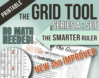 The Grid Tool <> SERIES A SET Smarter Spacing Rulers . stencil bookmark measure & draw rows columns dot bujo bullet journal notebook planner