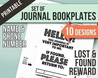 """Bookplates Set of 10 Designs <:> Lost and Found, Name, Phone Number, Reward . 4.7""""x 6.7"""" - fits size A5 journal, notebook, planner or bujo"""