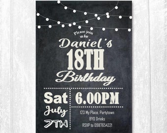 Male Birthday Invitation 21st Invitations Chalkboard Design Black And White