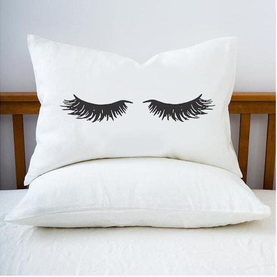 Personalized Pillow Case Custom Pillow Custom Wedding Gift Beautiful Sleeping Beauty Closed Eyelash Pillow Case Personalized Pillowcase