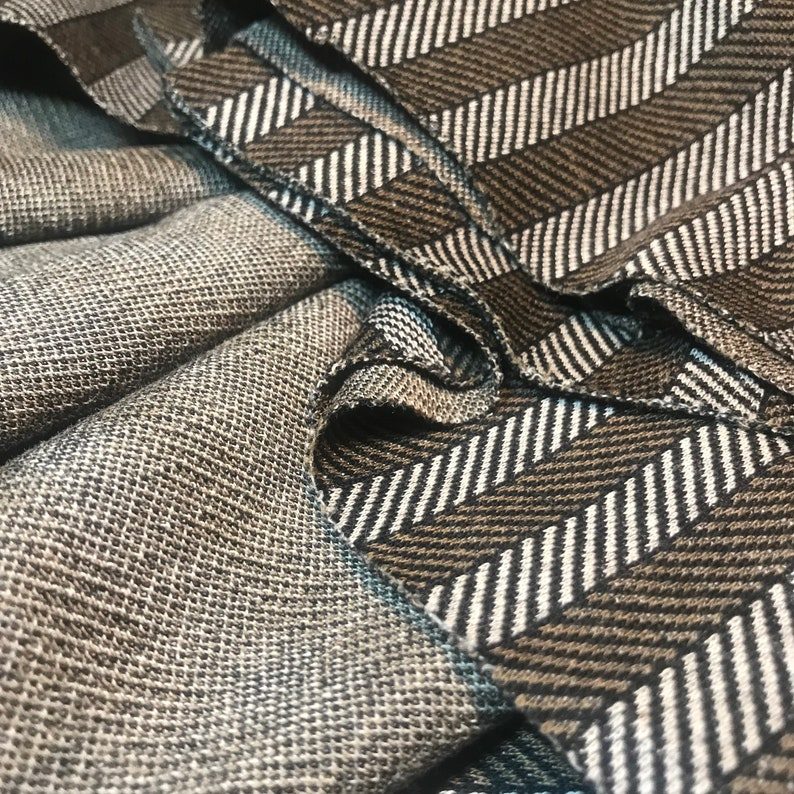 VINTAGE Herringbone End-of-Mill Fabric Remnant 60s 1960s 1970s 70s