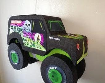 Monster truck pinata, monster truck birthday party,