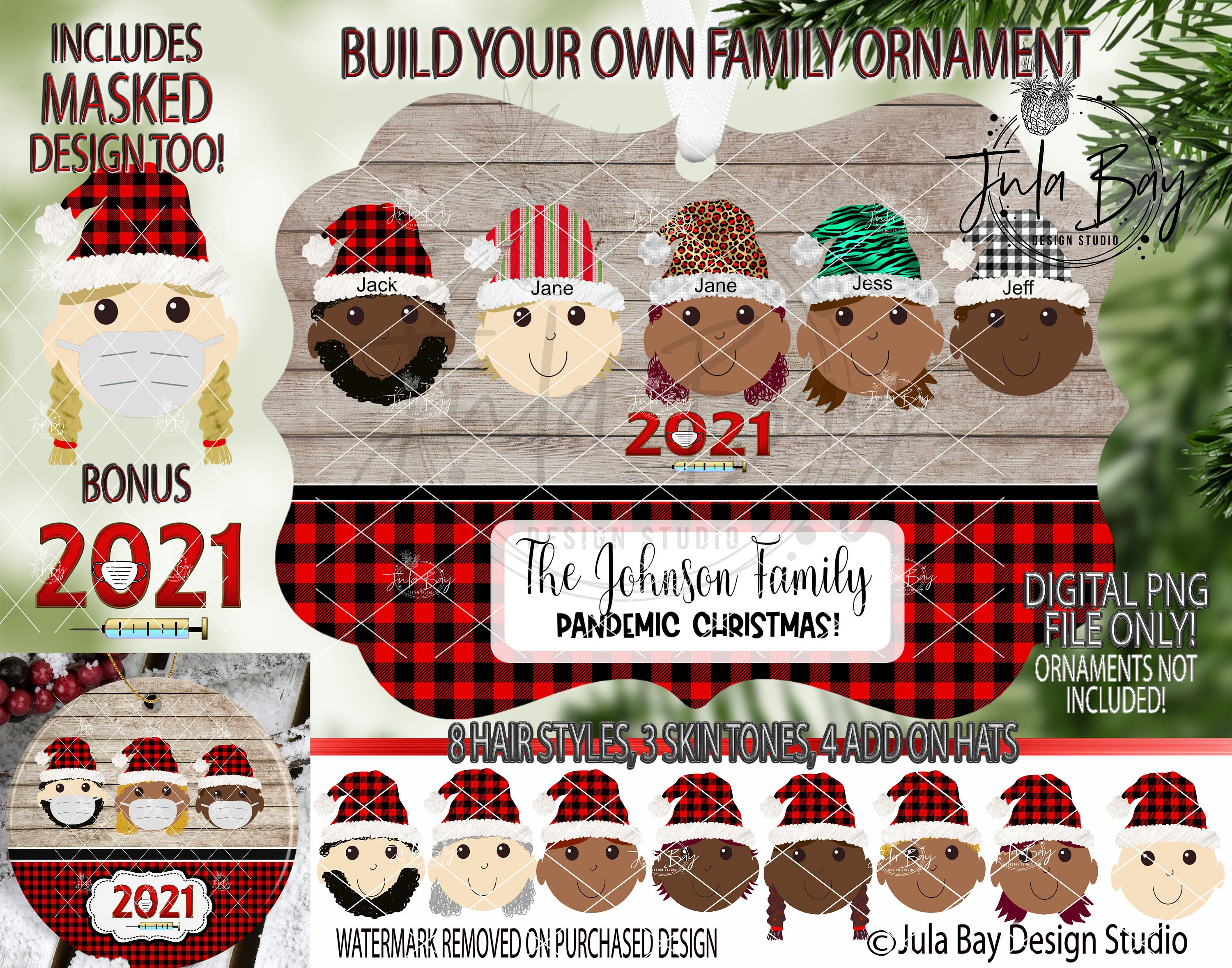 20 Christmas Ornament PNG Multicultural Elf Family Elves with Masks PNG  Skin Tones sublimation design Pandemic png Customizable Covid