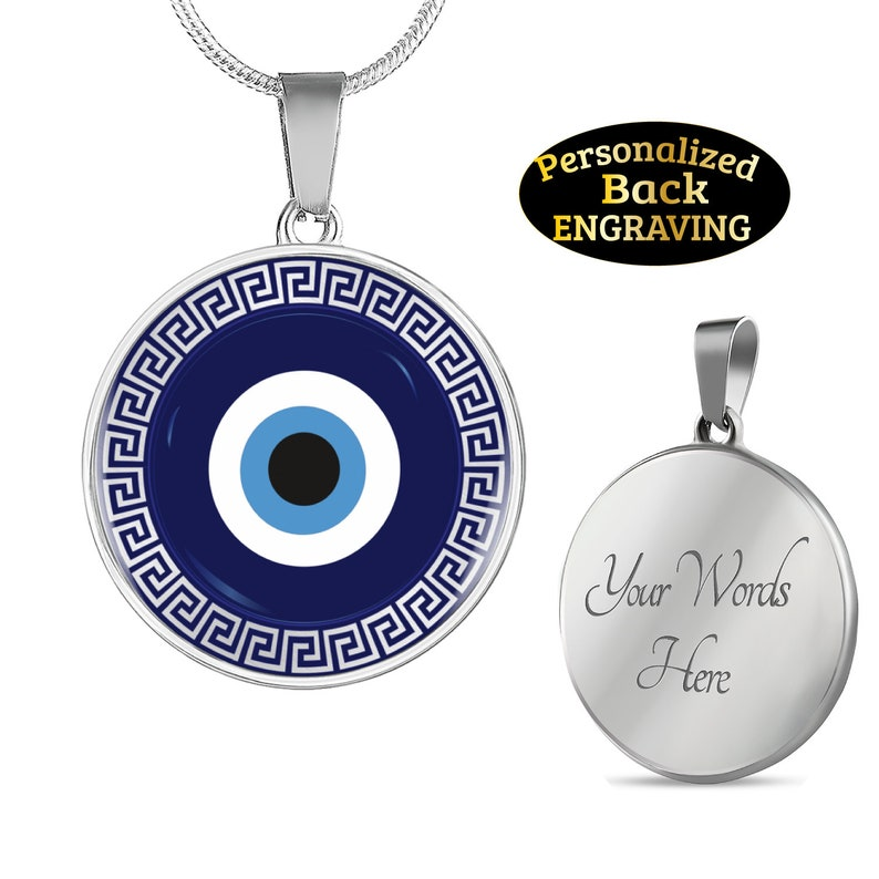 Evil Eye Necklace Blue Protection Personalized Jewelry with Engraved  Message Back