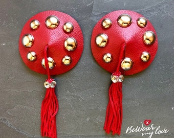 Red Leather Studded Pasties with Tassels