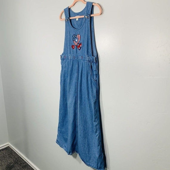 Vintage 90's Denim Red White And Blue Embroidered… - image 4