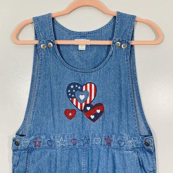 Vintage 90's Denim Red White And Blue Embroidered… - image 5
