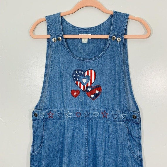 Vintage 90's Denim Red White And Blue Embroidered… - image 2
