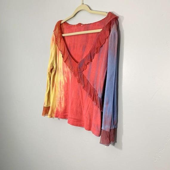 Vintage Y2K Yellow Pink Purple Tie Dye V-Neck Sil… - image 4
