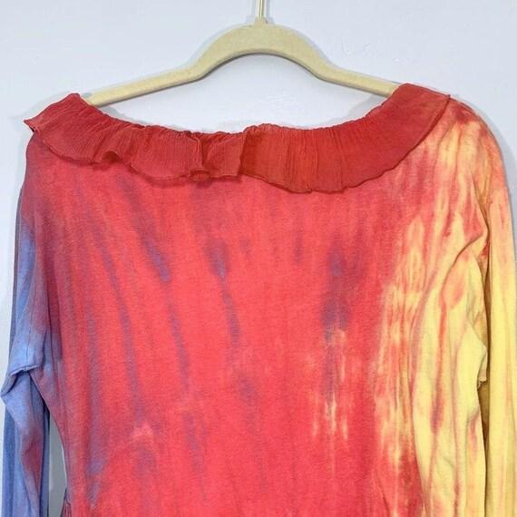 Vintage Y2K Yellow Pink Purple Tie Dye V-Neck Sil… - image 9