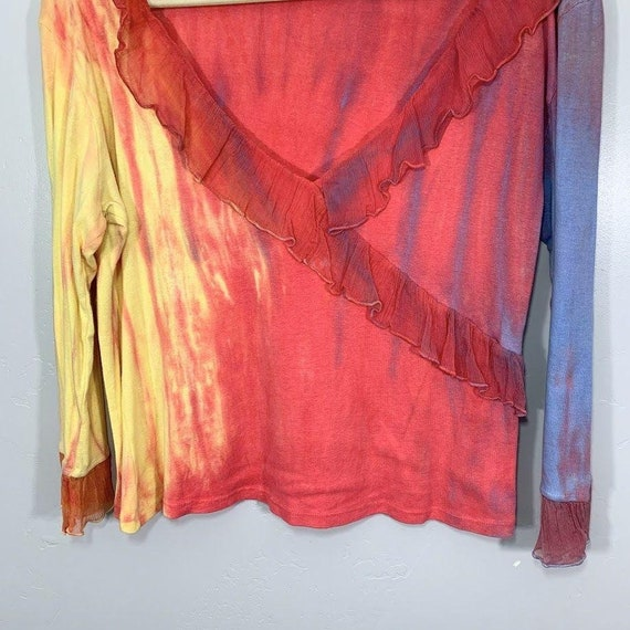 Vintage Y2K Yellow Pink Purple Tie Dye V-Neck Sil… - image 3