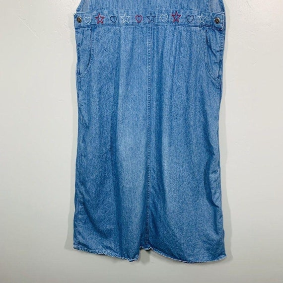 Vintage 90's Denim Red White And Blue Embroidered… - image 3