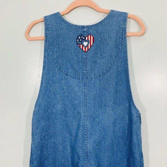 Vintage 90's Denim Red White And Blue Embroidered… - image 8