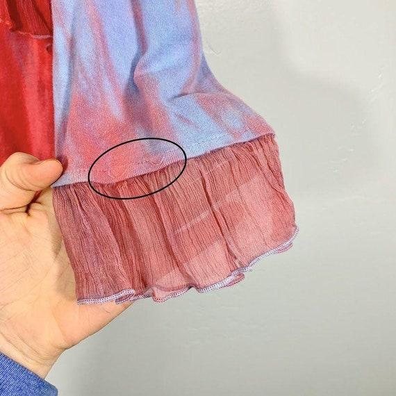 Vintage Y2K Yellow Pink Purple Tie Dye V-Neck Sil… - image 5