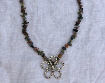 Gemstone and Hill Tribe Silver Pendant Necklace