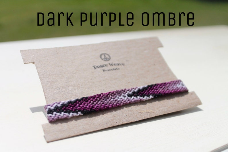 Friendship Bracelet String Bracelet Pattern Bracelet Woven Bracelet Dark Purple Ombre