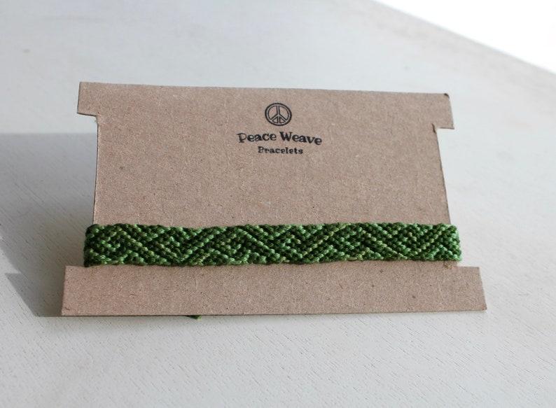 String Bracelet Green on Green Geometric Friendship Bracelet Woven Bracelet Pattern Bracelet