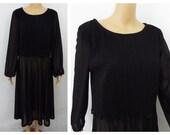 1970s Vintage Dress- Lady Carol- Black Dress Sheer Dress Vintage Dress-70s Dress- Trending Now