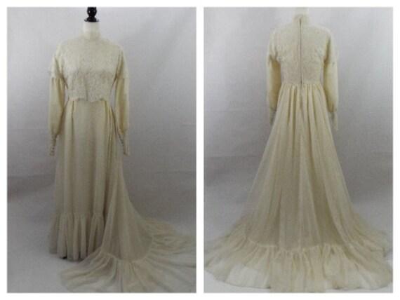 Vintage Wedding Dress, Edwardian Dress, High Colla