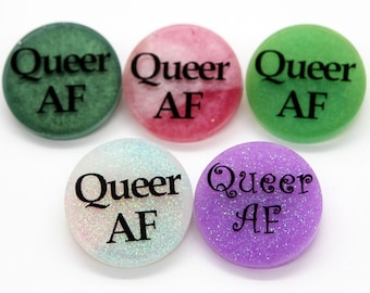Queer AF pin (available in several colors!)