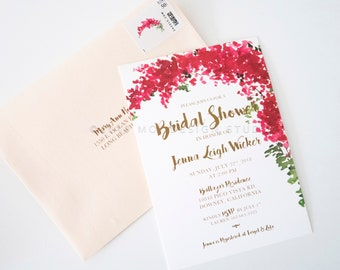 Bougainvillea Bridal Shower Invitations Custom Printed or Digital