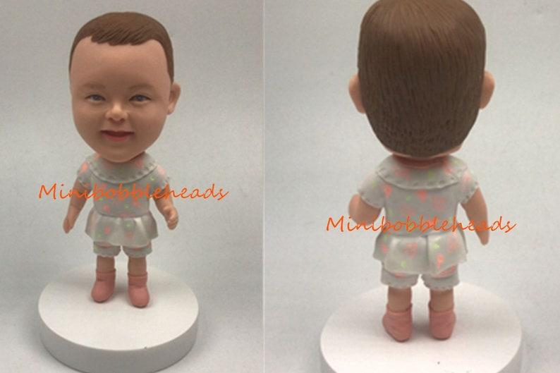 Custom Creative Handmade Polymer Clay Bobble head Little Child Bobbleheads Cake Toppers