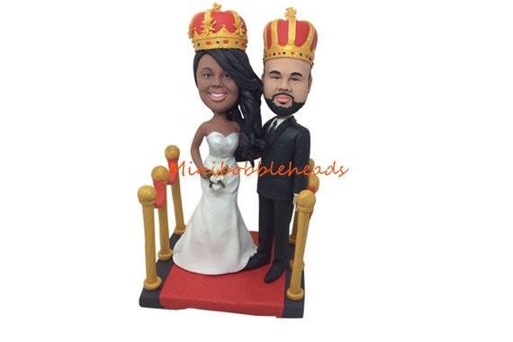custom wedding topper bobble head dolls people figurine handmade by polymer clay
