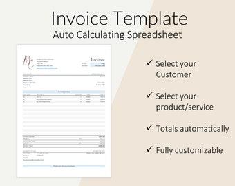 Excel Invoice Etsy