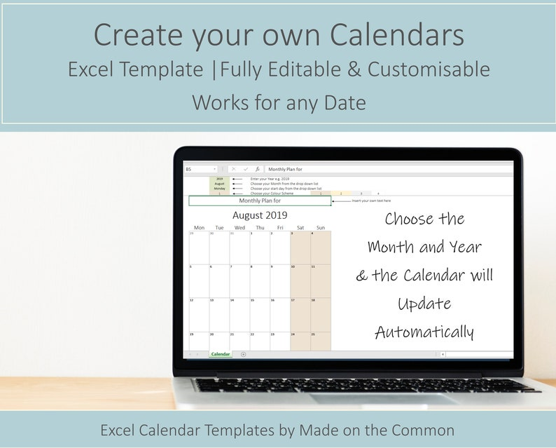 Monthly Excel Calendar Spreadsheet Template, Printable & Editable Dated  Monthly Calendar, Yearly Planner, Monthly Planner 2019-2020 Insert