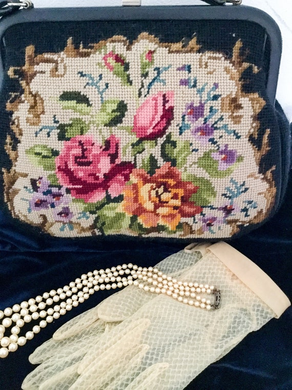 Vintage needle point 1950 Tapestry bag floral top… - image 3