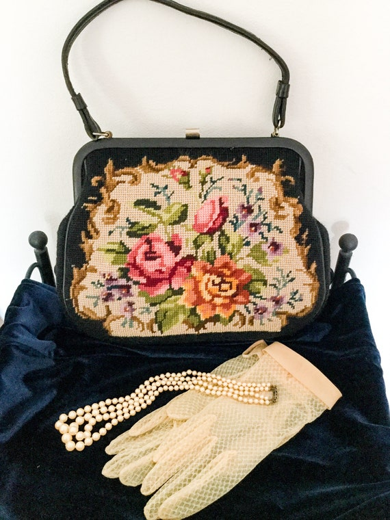 Vintage needle point 1950 Tapestry bag floral top… - image 1