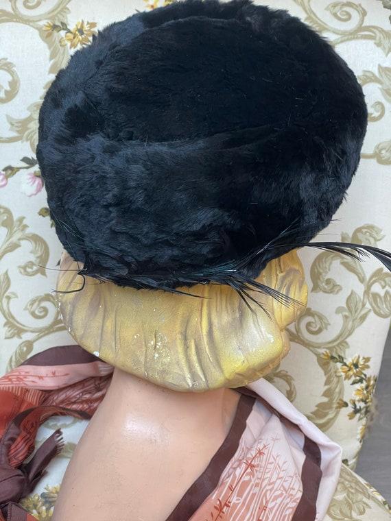 Vintage hat fur 1950 black  hat 40s 50s - image 2