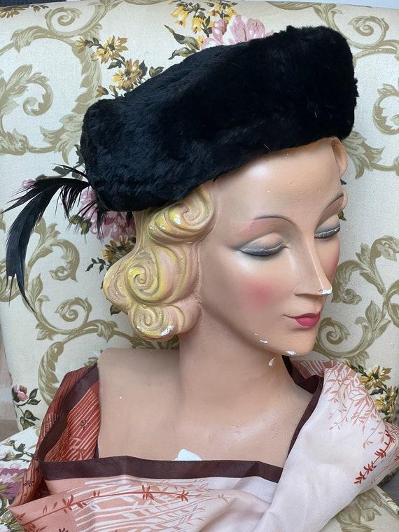 Vintage hat fur 1950 black  hat 40s 50s - image 1