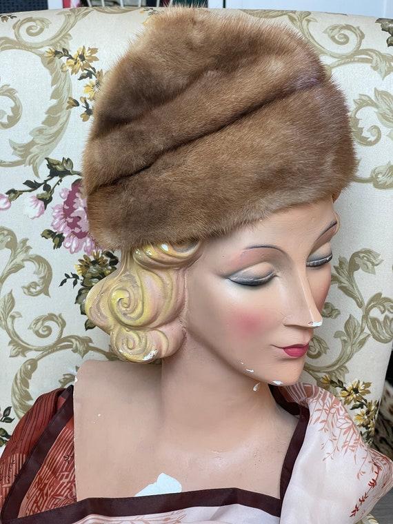 Vintage hat fur 1950 blue brown  hat 40s 50s - image 1