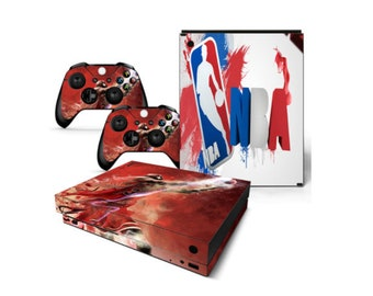 54536460321f Xbox One X Skin Wrap Decal Full Set Controllers and Full Console Skin For  Xbox NBA