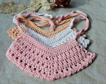 Pretty Cotton Crochet Dribble Bibs