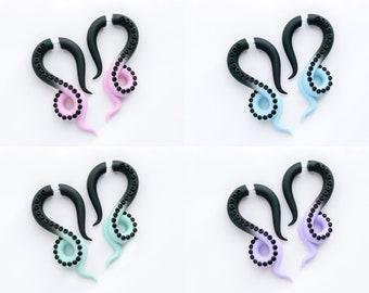 Pastel goth mood octopus earrings, Kawaii tentacle fake gauges - Choose your color