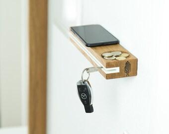 Key board slosilo with slot and storage, Non-visible wall mount  - oak wood, acrylic stone - handmade in Germany, Holzbutiq