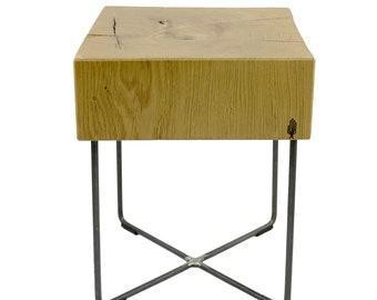 Bar stool tabureto   Wooden stool, solid wood - oak wood, steel, 37 x 37 x 45 cm - Handmade in Germany - Holzbutiq