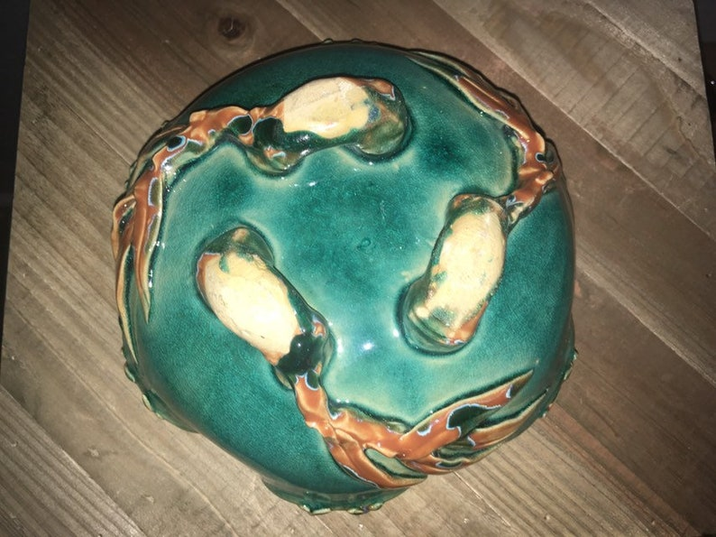 7.5\u201dx3.5\u201d Hand Painted Majolica Style 2 lb Clay Pottery Art Frog Toad Bowl