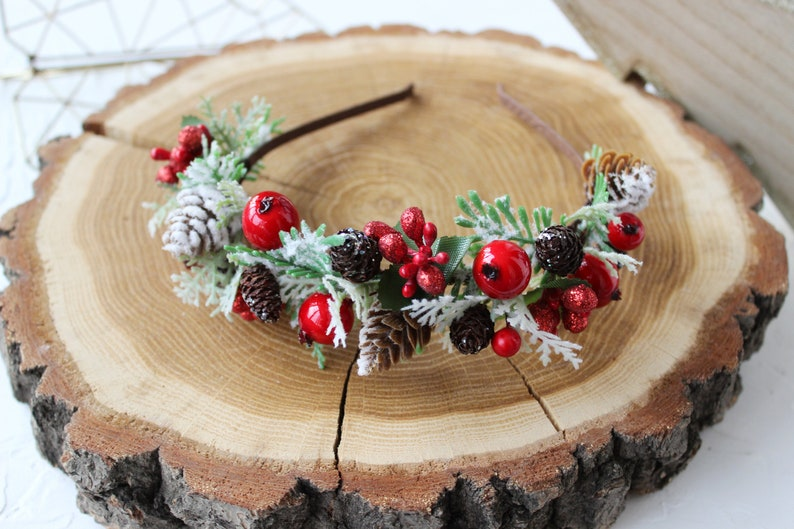 Winter wedding flower crown Christmas gift for girl Christmas headband