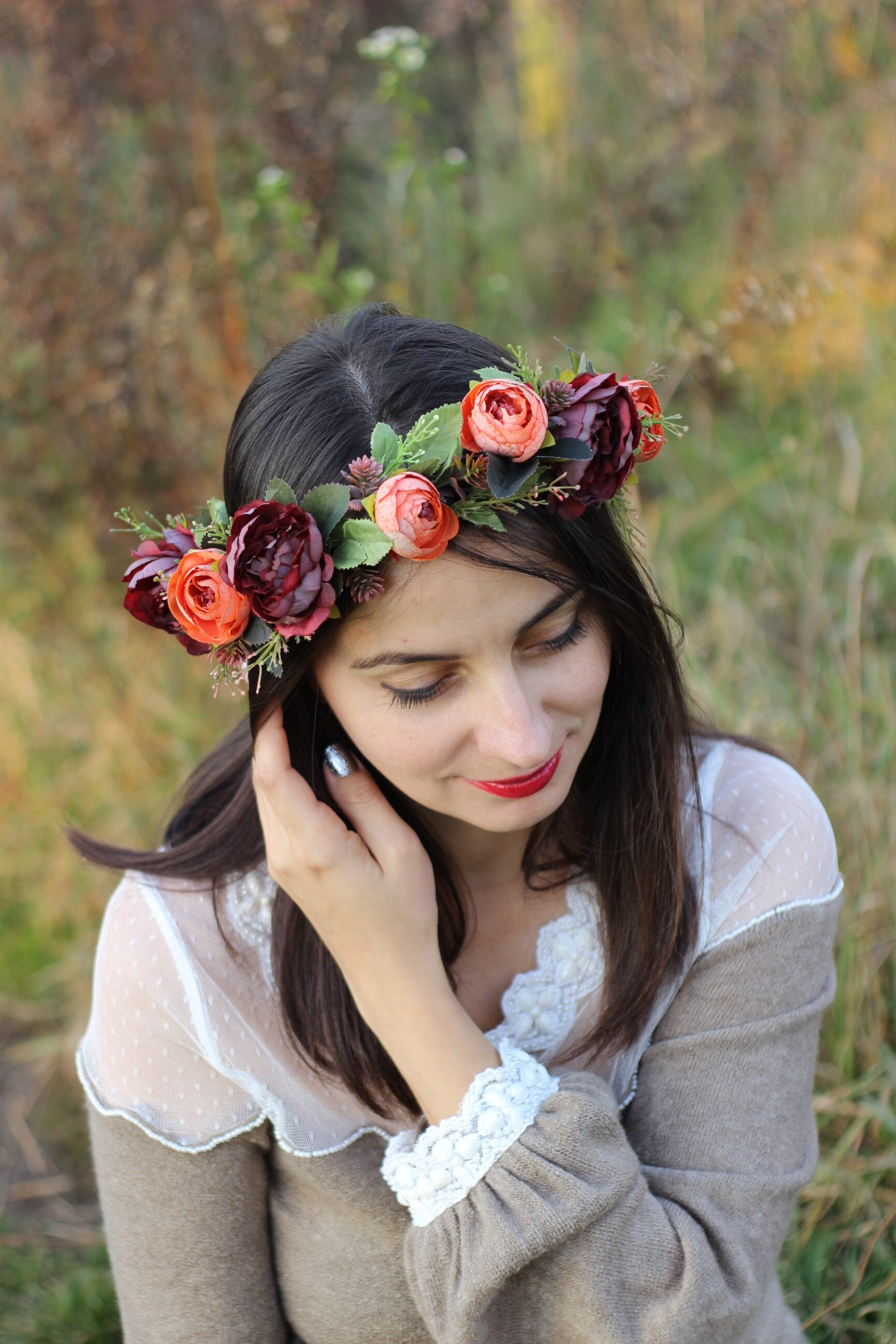 59e0b280f Burnt orange burgundy peony flower crown for weddings and | Etsy
