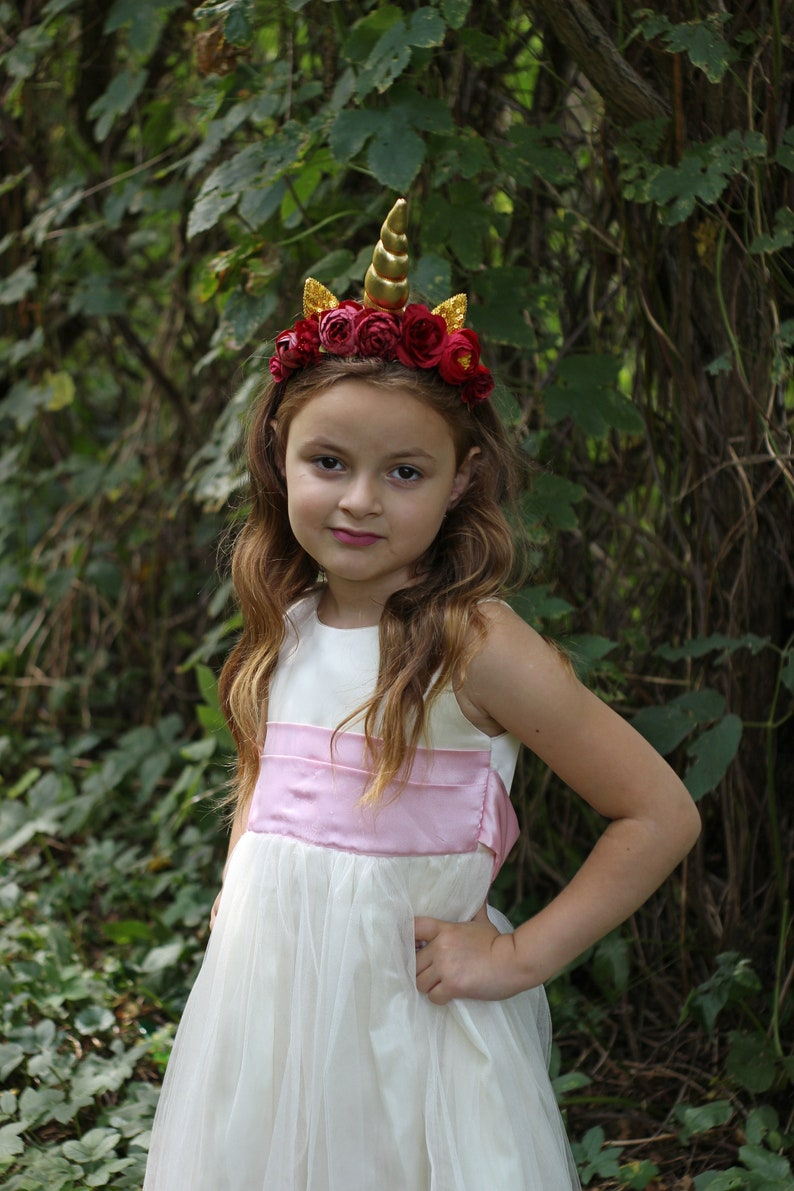 First birthday animal ears crown Burgundy gold unicorn headband for girls and adults Christmas unicorn horn for unicorn party