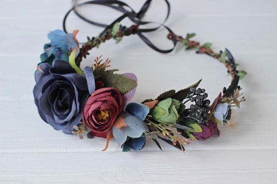 Day of the dead flower crown Dark floral headpiece Mexican  e10e0a040b9